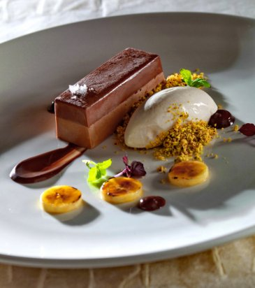 Milk chocolate mousse with chocolate jelly, pistachio crumble and ...