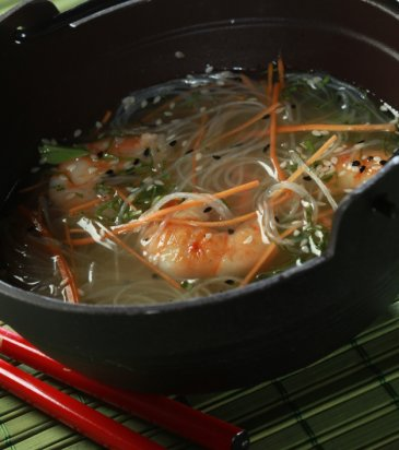 Carrot consommé with lemongrass, ginger, spicy Asian grilled shrimp ...