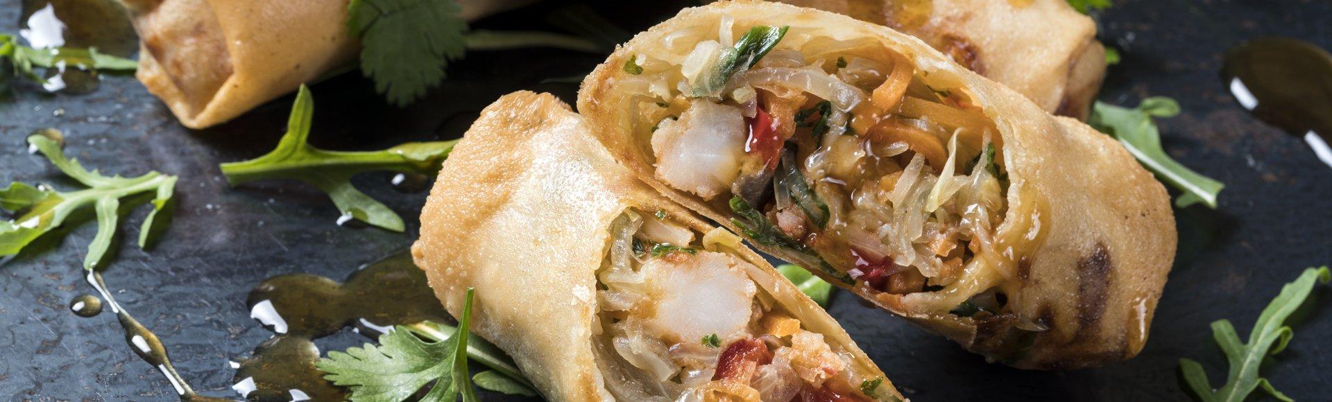 Σπρινγκ ρολς με λαχανικά, γαρίδες και σάλτσα σόγια-τζίντζερ