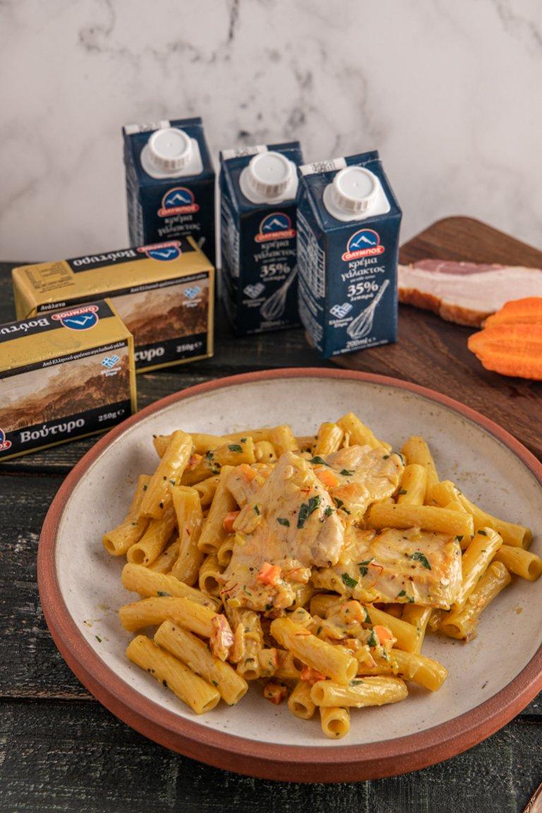 Ριγκατόνι με κοτόπουλο, μπέικον και σάλτσα σαφράν - Νίκος Τραχανάς