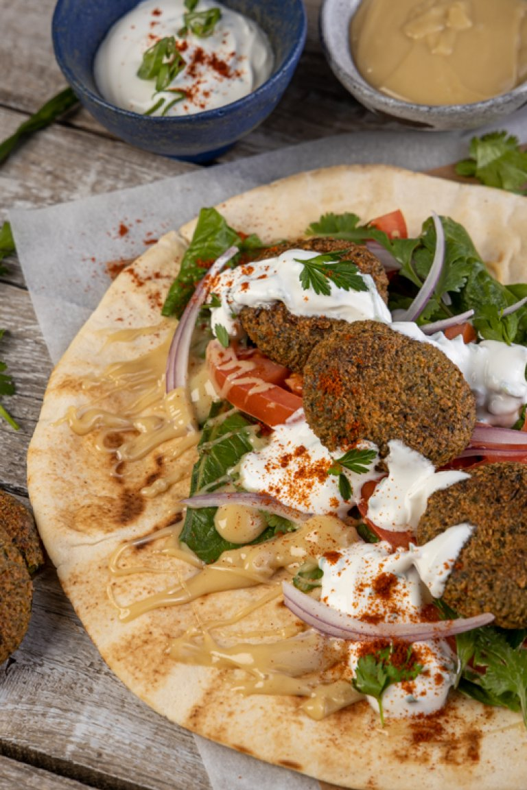 Falafel wrap with tahini sauce
