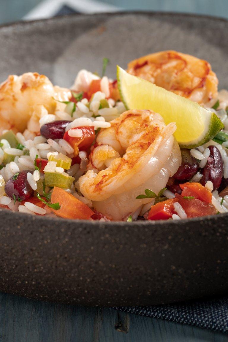 Ρύζι με γαρίδες, ελιές Καλαμών και κόκκινα φασόλια
