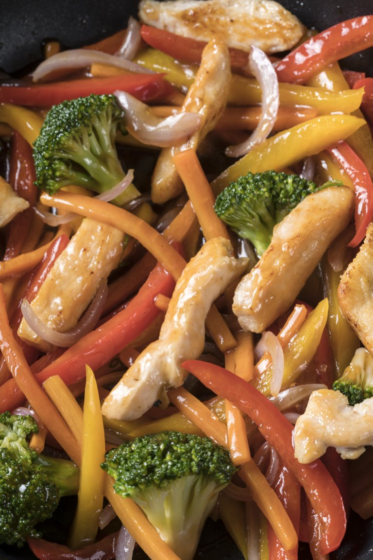 Κοτόπουλο με λαχανικά stir fry και σάλτσα σόγια-μέλι