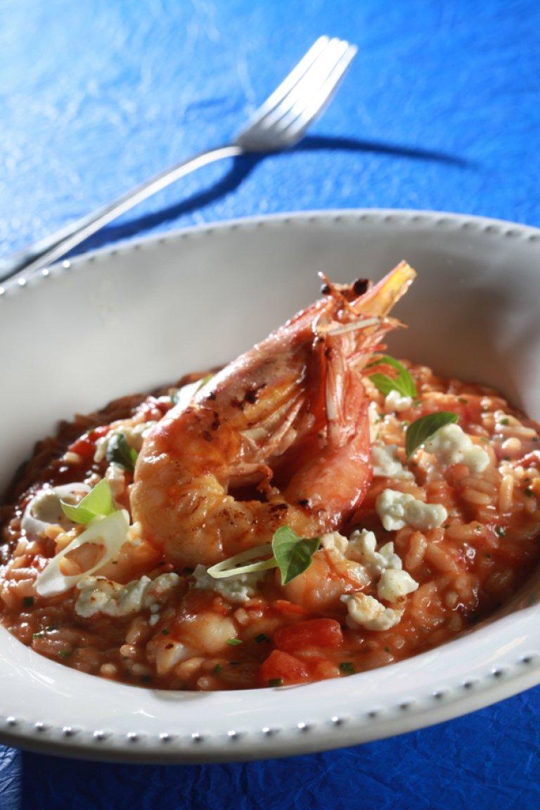Ριζότο γαρίδες σαγανάκι