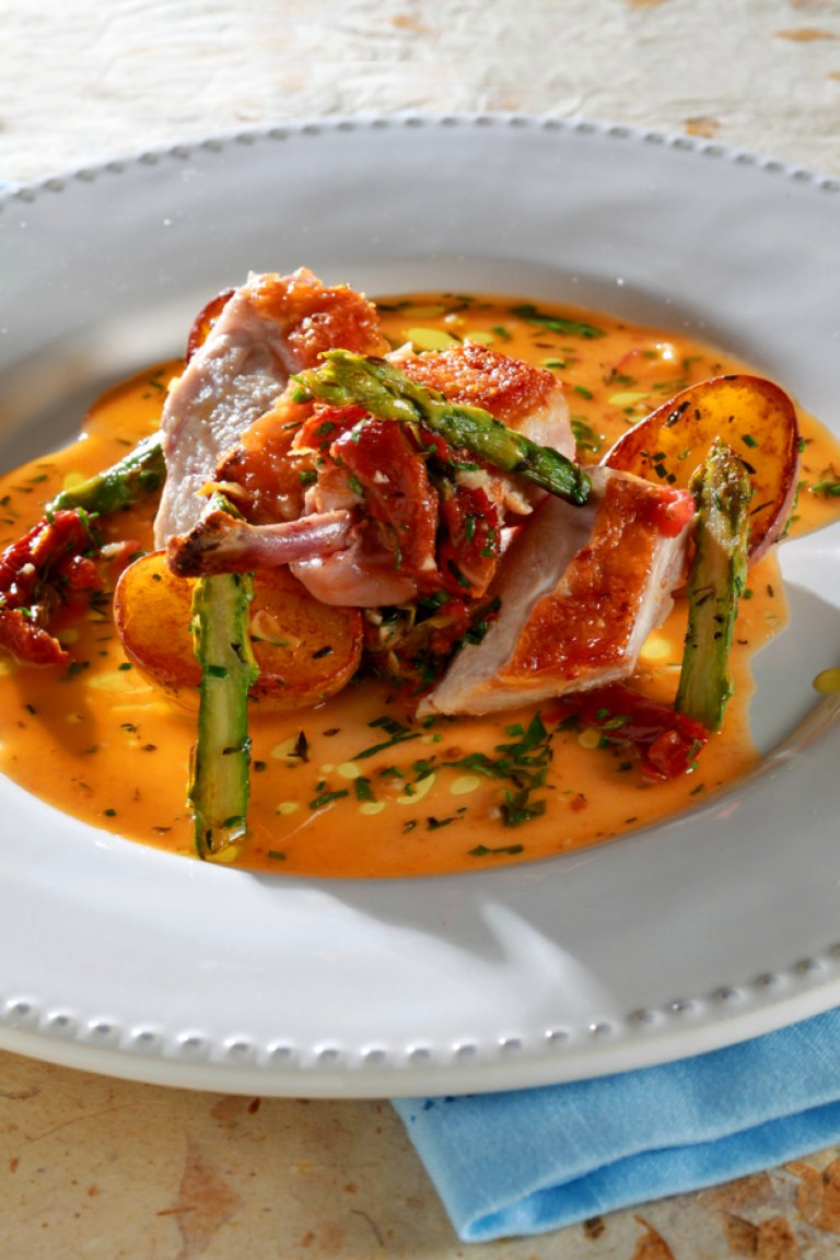 Sautéed chicken with asparagus and sun-dried tomato and capper sauce