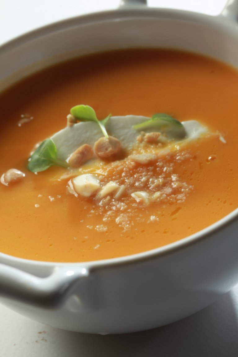 Sweet potato soup with maple syrup