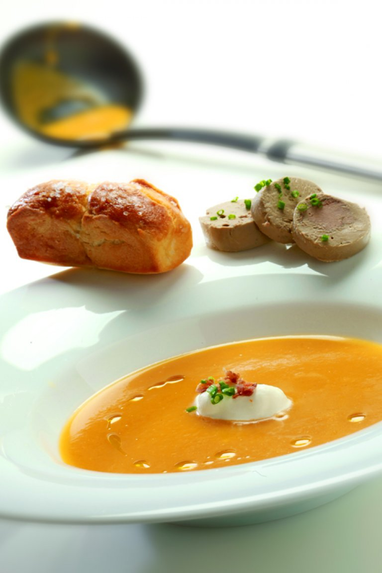 Pumpkin soup with brioche, and chicken liver - mavrodaphne terrine