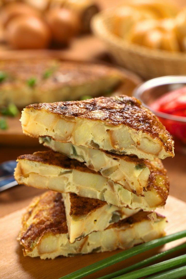 Τορτίγια με πατάτες και φρέσκο κρεμμύδι